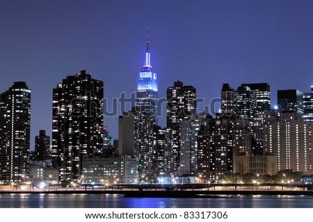 New York City skyline at Night Lights, Midtown Manhattan - stock photo