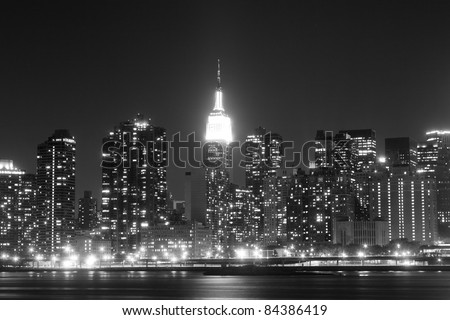 New York City skyline at Night Lights, Midtown Manhattan - stock photo