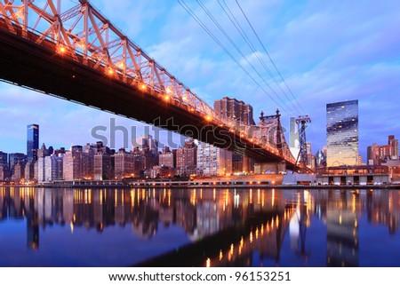 New york city skyline at Queen Bridge - stock photo