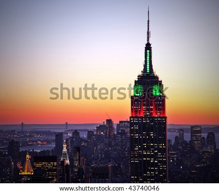 New York City skyline at sunset - stock photo