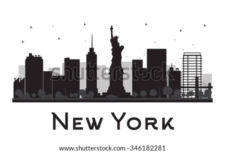 New York City skyline black and white silhouette. Concept for tourism presentation, banner, placard or web site. Business travel concept. Cityscape with famous landmarks - stock photo