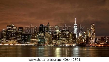 New York City skyline by night, USA - stock photo