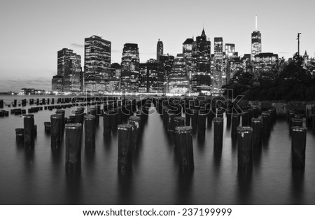 New York City skyline from Brooklyn - stock photo