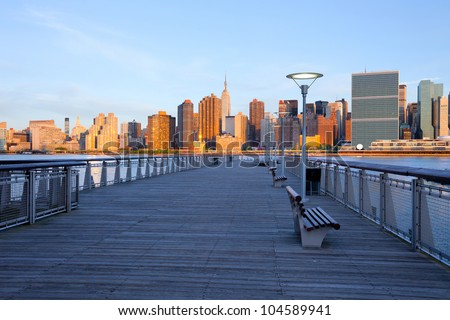 New York City skyline from Queens, United States - stock photo