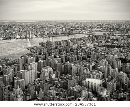 New York City Skyline in a vintage tone - stock photo