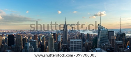 New York City skyline in afternoon before sun set. Panoramic image. - stock photo