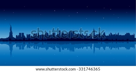 New york city skyline in blue version at night reflect on water - stock photo