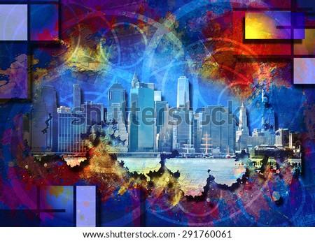 New York City Skyline Landscape Art - stock photo