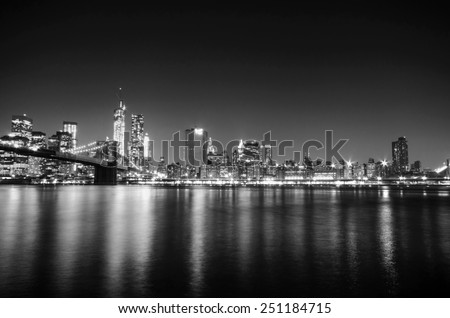New York City skyline Manhattan black and white view. United states of America. - stock photo