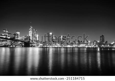 New York City skyline Manhattan black and white view. United states of America. - stock photo