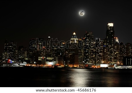 New  York City skyline on a moonlit night