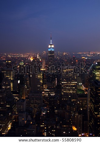 New York City skyline on a stormy and misty night - stock photo