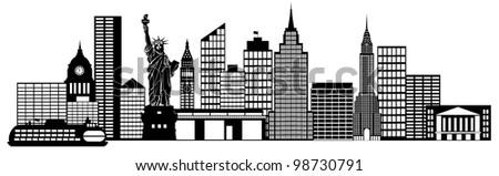 New York City Skyline Panorama Black and White Silhouette Clip Art Illustration - stock photo