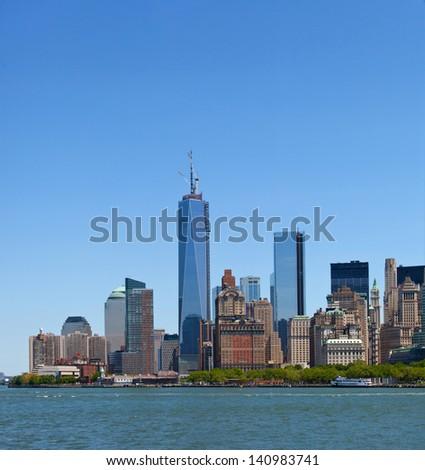 New York City, skyline panorama of lower downtown Manhattan business district - stock photo