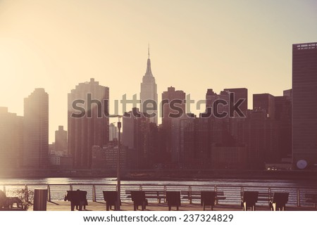 New York City skyline  retro style