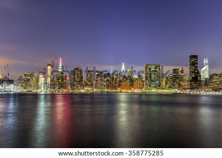 New York City skyline view from Gantry Park, Long Island City, Queens. - stock photo