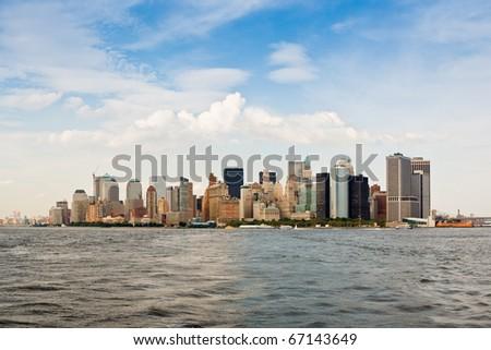 New York city skyline. View of Lower Manhattan. - stock photo