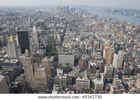 New York City skyline viewed from the Empire State Building - stock photo