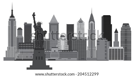 New York City Skyline with Statue of Liberty Black and White Raster Vector Illustration - stock photo