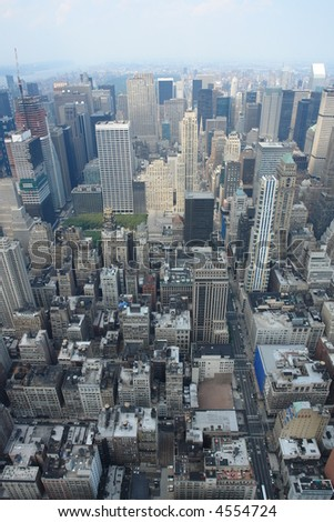 New york city skyline with the skyscrapers and central park. - stock photo