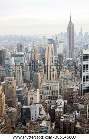 New York City skyline with urban skyscrapers USA. - stock photo