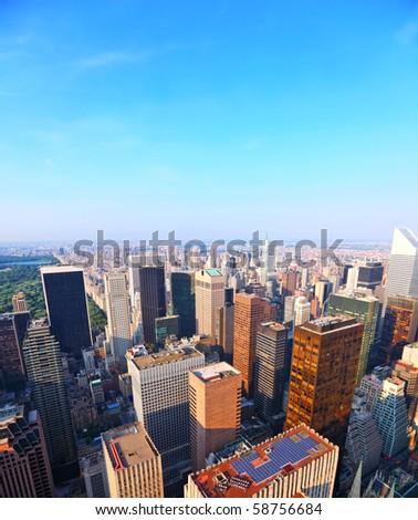 New York city skyline with vibrant blue sky - stock photo