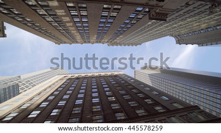new york city skyscraper buildings background. modern real estate apartments architecture scenery. investment business concept - stock photo