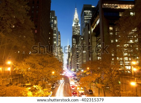 New York City skyscrapers from Tudor City, USA - stock photo