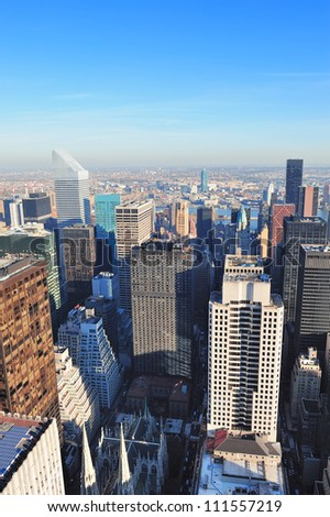 New York City skyscrapers in midtown Manhattan aerial panorama view in the day. - stock photo