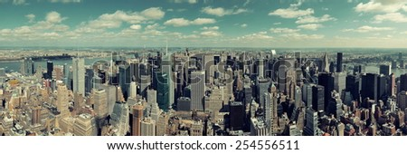 New York City skyscrapers rooftop urban view. - stock photo