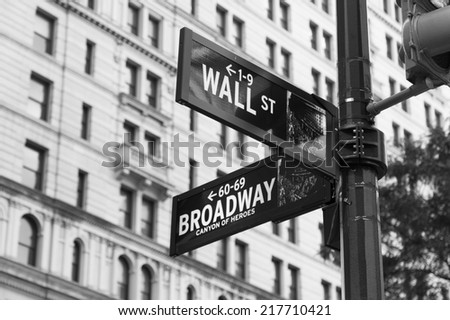 NEW YORK CITY - 1ST SEPTEMBER 2014: Wall Street and Broadway Street Signs in downtown New York