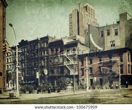 New York city. Street. Old style image - stock photo