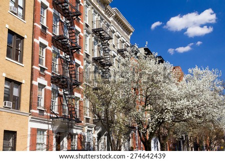 New York City street scene in Spring - stock photo