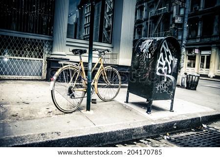 New York City street scene - soho area -bike - stock photo