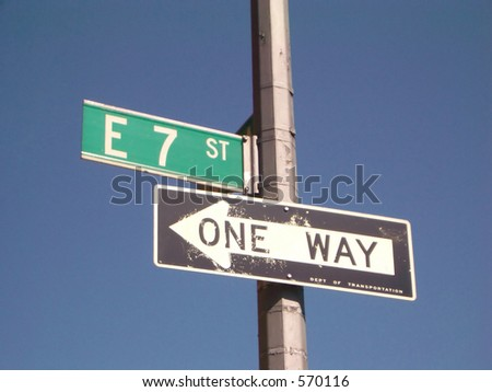 new york city street signs, one way and 7th street