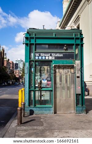 New York City subway entrance with elevator handicap access - stock photo