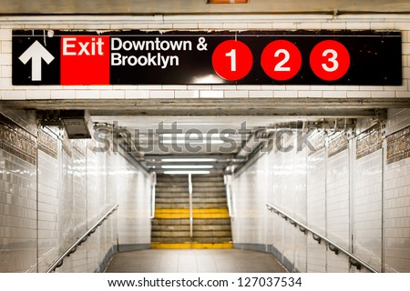 New York City subway passageway and sign to Brooklyn