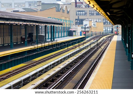 New York City subway platform and tracks - stock photo