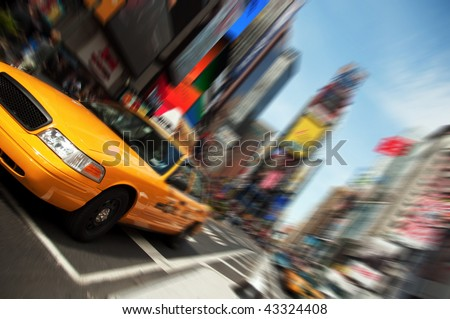 New York City Taxi Cab Yellow, Times Square, Midtown, Manhattan street skyline cityscape. NYC, American USA Landmark.