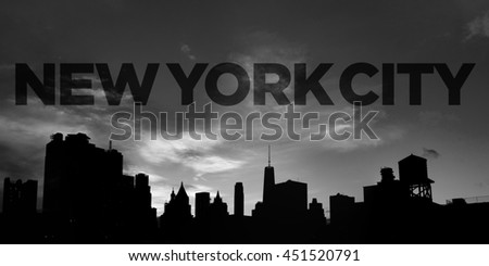 New York City Text Above Panoramic Downtown Skyline in Black and White  - stock photo