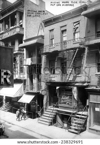 New York City, 782 8th Avenue, the Mission house where Elsie Sigel was murdered at the age of 19, 1909. - stock photo