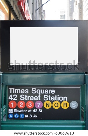 New york city Times square subway stop with a blank billboard. - stock photo
