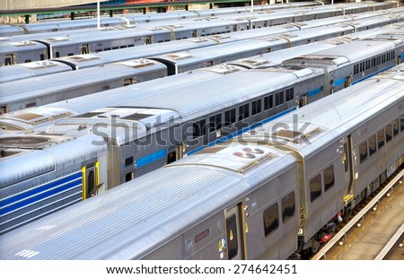 NEW YORK CITY -  Trains lined up at the station at Hudson Yards in Manhattan - stock photo