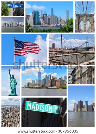 New York City travel collage - photo set with Statue of Liberty, Manhattan skyline and Brooklyn Bridge. - stock photo