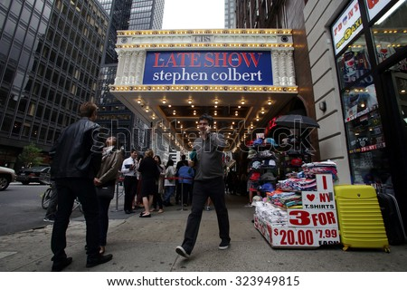 NEW YORK CITY - TUESDAY, SEPTEMBER 22, 2015: Crowds line up outside the Ed Sullivan Theater for CBS Television Late Night Show with Stephen Colbert.