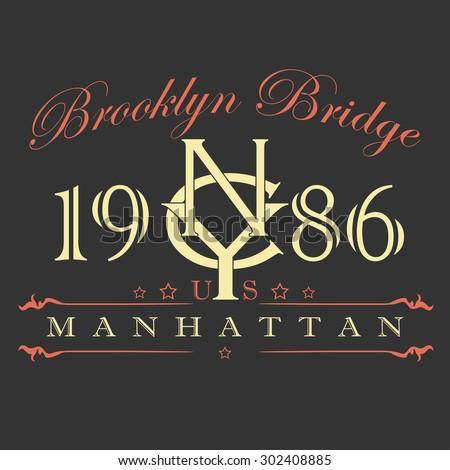 New York City Typography Graphics Label. T-shirt Printing Design, Manhattan original wear -  illustration - stock photo