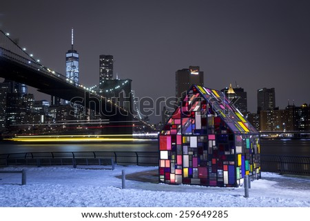 New York City, U.S.A - March 7, 2015: Tom Fruin's Stained Glass House Installed at Brooklyn Bridge Park. - stock photo