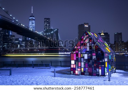 New York City, U.S.A - March 7, 2015: Tom Fruinas Stained Glass House Installed at Brooklyn Bridge Park. - stock photo