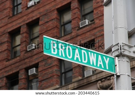 New York City, United States - famous Broadway sign in Manhattan - stock photo