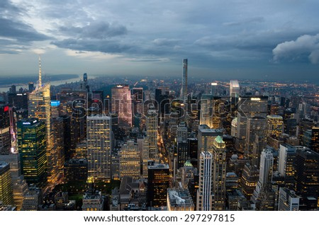 New York city, United States. July 08, 2015. New York city, United States. Panoramic view of Manhattan skyline and buildings - stock photo